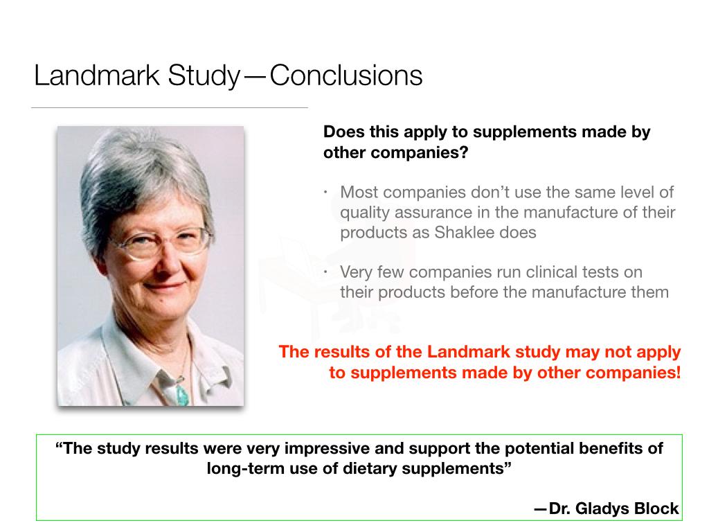 Keputusan Landmark Study Shaklee dari Dr. Gladys Block